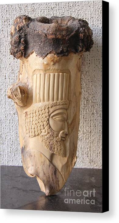 Achaemenian Soldier Canvas Print featuring the relief Achaemenian Soldier Relief Sculpture Wood Work by Persian Art