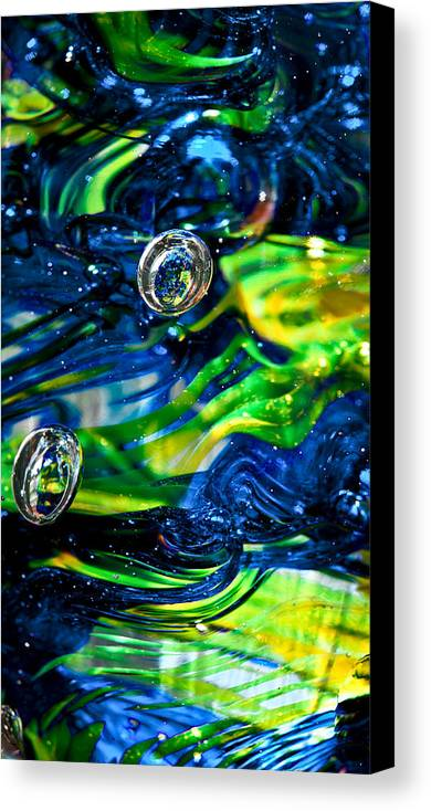 Seattle Seahawks Canvas Print featuring the photograph Glass Macro - Seahawks Blue And Green -13e4 by David Patterson