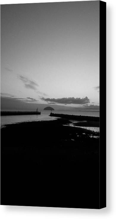 Harbour Canvas Print featuring the photograph Harbour At Night Black And White by Alan Wilson
