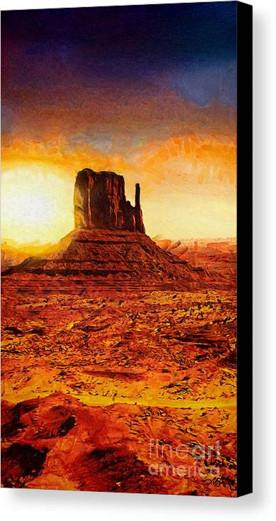 Monument Valley Canvas Print featuring the painting Monument Valley by Mo T