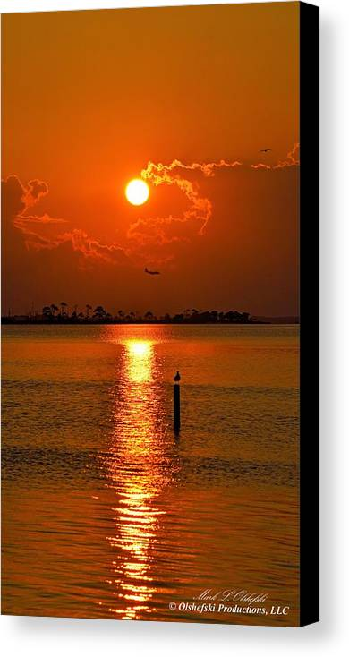 Golden Canvas Print featuring the photograph Nwfl Golden Sunset I Mlo by Mark Olshefski