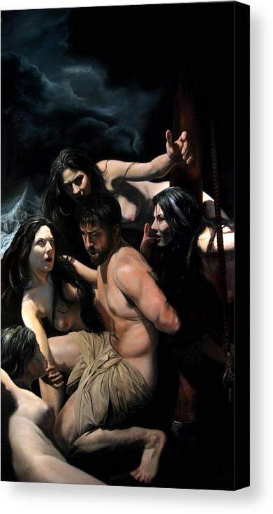 Figurative Art Canvas Print featuring the painting Odysseus And The Sirens by Eric Armusik