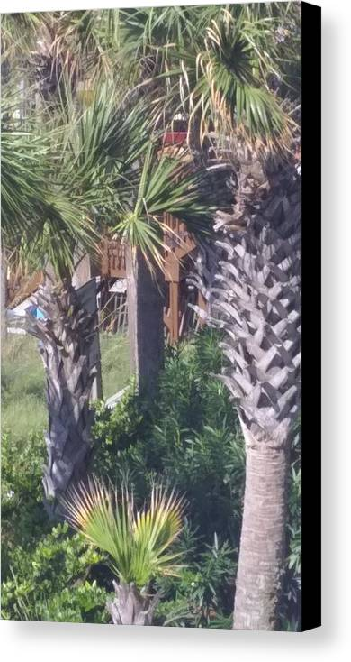Palm Trees Canvas Print featuring the painting Palm Tree Scenery by Earnestine Clay