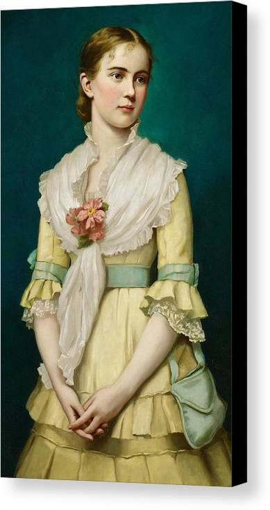 Portrait Canvas Print featuring the painting Portrait Of A Young Girl by George Chickering Munzig