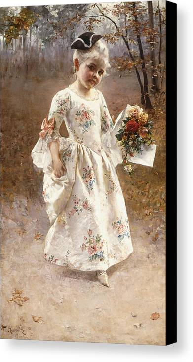 Little; Flower; Girl; Female; Child; Children; Portrait; Standing; Full Length; Young; Youth; Posy; Bouquet; Flower; Flowers; Floral; Silk; Dress; Hat; Walking; Wooded; Landscape; Coquettish; Coy; Woods; Leaves Canvas Print featuring the painting The Little Flower Girl by Albert Raudnitz