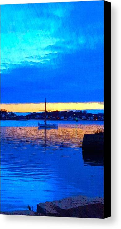 Deep Blue Water Canvas Print featuring the photograph Annisquam Winter Twilight II by Harriet Harding