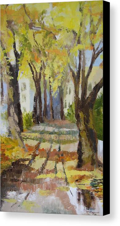 Landscape Canvas Print featuring the painting Autumn Street by Mabel Moyano