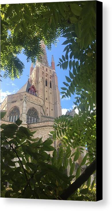 Brugge Canvas Print featuring the photograph Cathedral In Brugge by Abigail Scott
