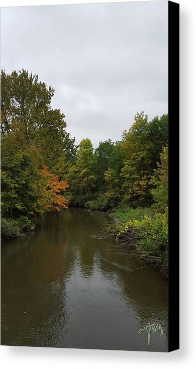 River Canvas Print featuring the photograph Clinton River In Autumn Cloudy Day by Catalina Diaz