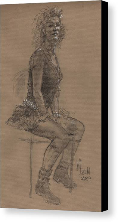 Sketch Canvas Print featuring the drawing Desperately Seeking Dr Sketchy by Will Brown