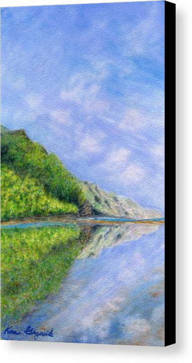Rainbow Colors Pastel Canvas Print featuring the painting In Reflection by Kenneth Grzesik