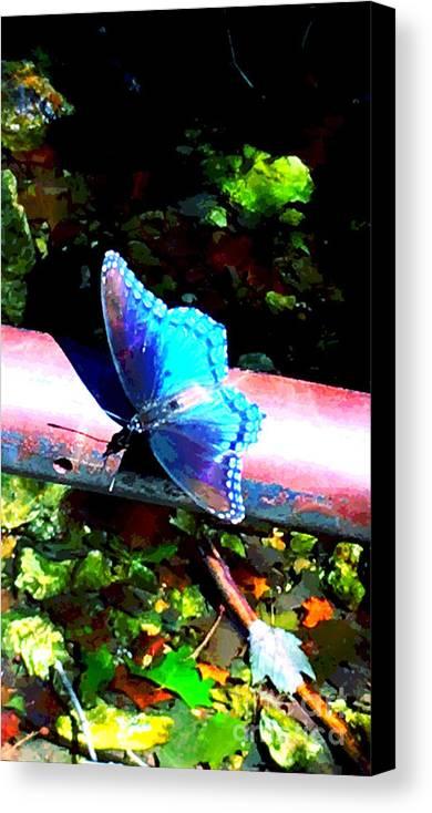 Neon Canvas Print featuring the digital art Neon Butterfly by JD Poplin
