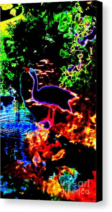 Neon Canvas Print featuring the digital art Neon Nature by JD Poplin
