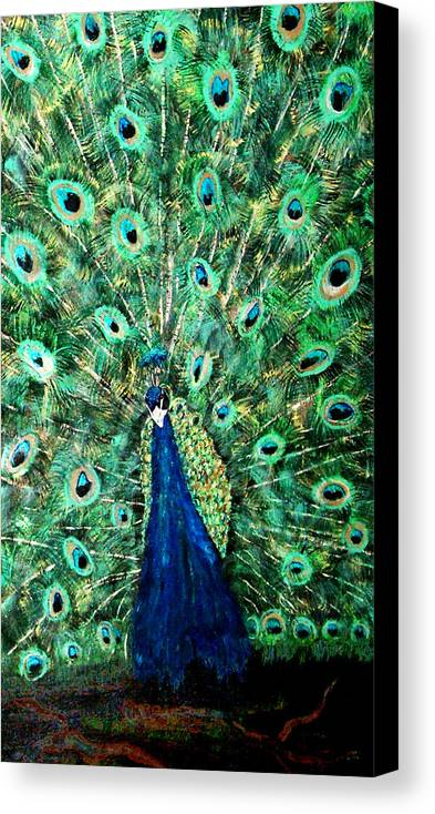 Peacock Canvas Print featuring the painting Peacock by Mikki Alhart