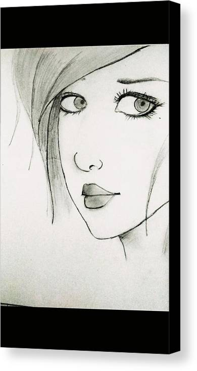 Portrait Girl Lady Beauty Eyes Looks Fashion Beautiful Sketching Canvas Print featuring the painting Portrait By Neha by Neha N