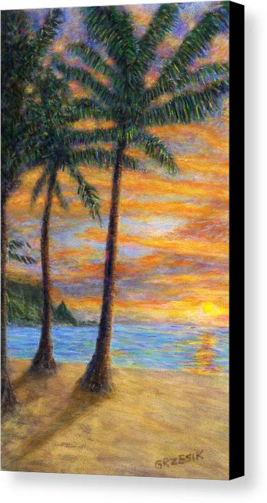 Coastal Decor Canvas Print featuring the painting Princeville Beach Palms by Kenneth Grzesik