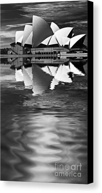 Sydney Opera House Monochrome Black And White Canvas Print featuring the photograph Sydney Opera House Reflection In Monochrome by Sheila Smart Fine Art Photography