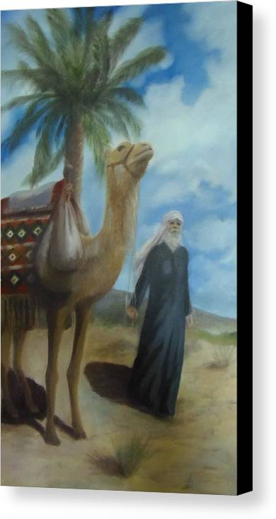 Desert Canvas Print featuring the painting The Traveller by Ageliki