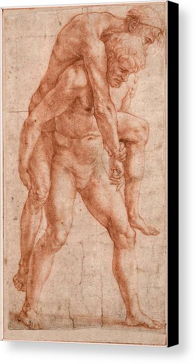 Raphael Canvas Print featuring the drawing Young Man Carrying An Old Man On His Back by Raphael