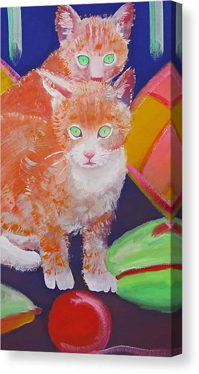 Kittens Canvas Print featuring the painting kittens With A Ball of Wool by Charles Stuart