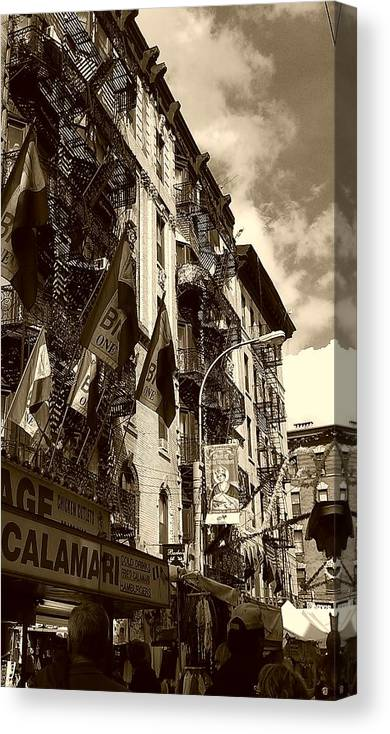 Feast Of San Gennaro Canvas Print featuring the photograph Feast Flags by Catie Canetti