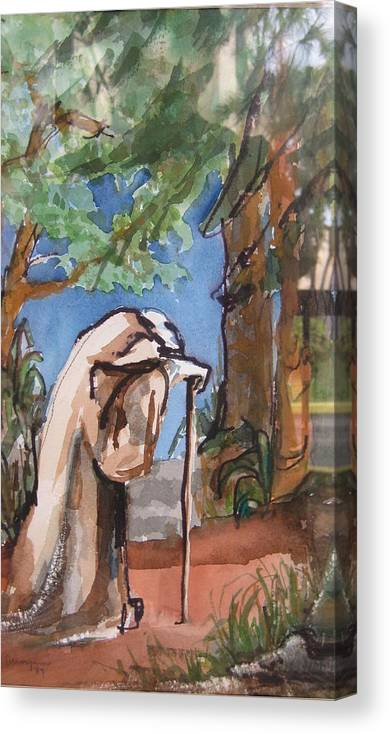 Landscape Canvas Print featuring the painting I Carry Your Load by Mabel Moyano