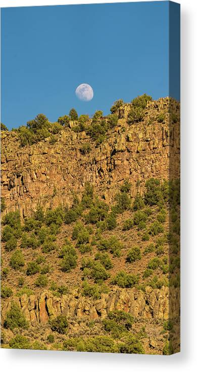New Mexico Canvas Print featuring the photograph Moonrise Rio Grande Gorge Pilar New Mexico by Lawrence S Richardson Jr