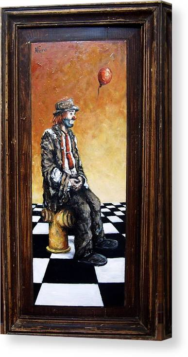 Clown Man Figurative Figure Human Surrealism Chess Emotion Canvas Print featuring the painting Clown S Melancholy by Natalia Tejera
