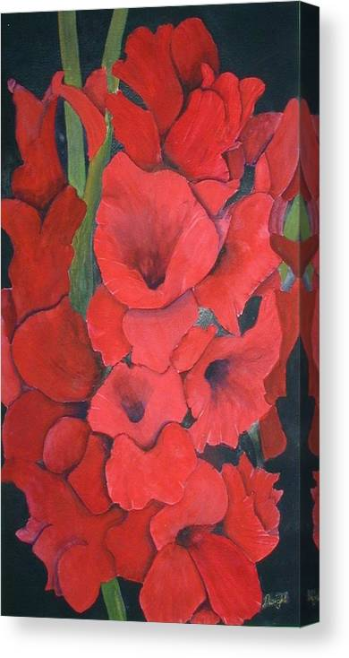 Flowers Canvas Print featuring the painting Glads by Dwight Williams