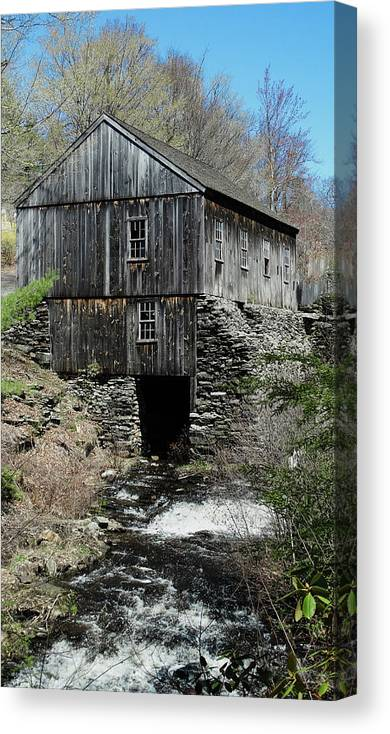 Grist Mill Canvas Print featuring the photograph Grist Mill At Moore State Park by Bill Dussault