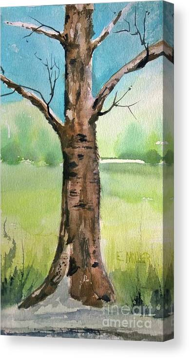 Painting Canvas Print featuring the painting Lone Tree by Eunice Miller