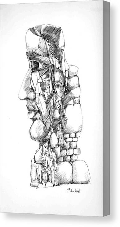 Forms Canvas Print featuring the drawing Mental Images 1 by Padamvir Singh