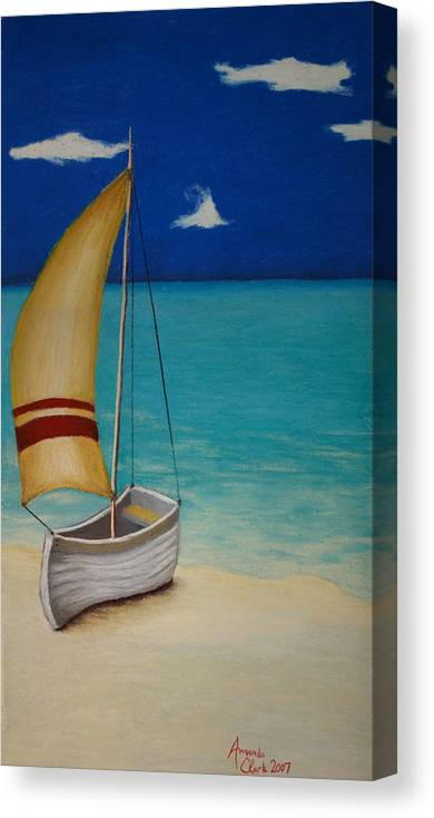 Boat Canvas Print featuring the pastel Sailors Solitude by Amanda Clark