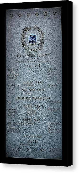 Military Canvas Print featuring the photograph 18th Infantry Regiment History by Rosanne Jordan