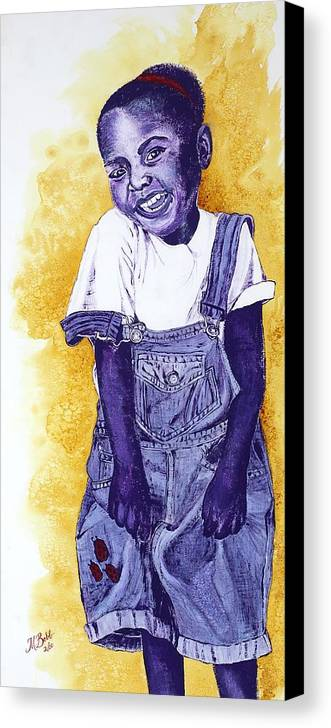 Orphan Canvas Print featuring the painting A Smile For You From Haiti by Margaret Bobb