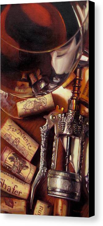 Wine Still Life. Red Wine Canvas Print featuring the painting Anticipation by Takayuki Harada