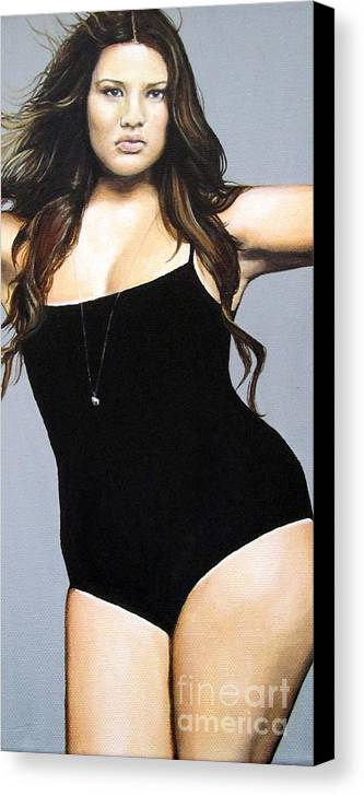 Portrait Painting Canvas Print featuring the painting Curvy Beauties - Tara Lynn by Malinda Prudhomme