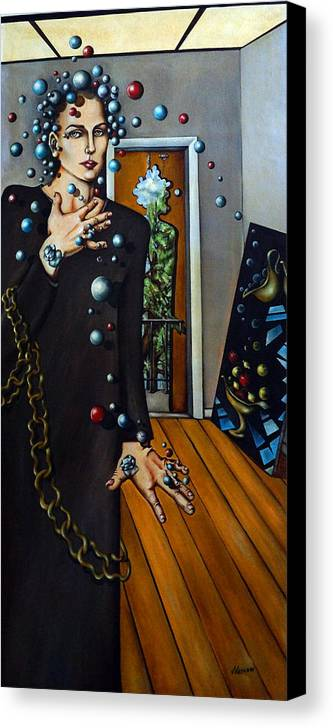Surreal Canvas Print featuring the painting Existential Thought by Valerie Vescovi