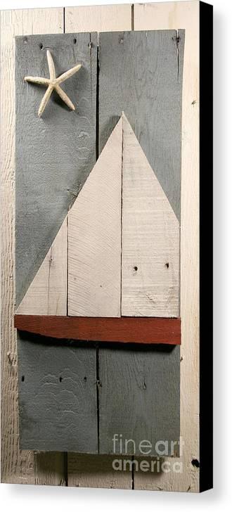 Wood Canvas Print featuring the sculpture Nautical Wood Art 01 by John Turek