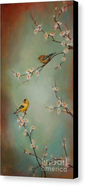 Songbird Canvas Print featuring the painting Spring Dream by Lori McNee