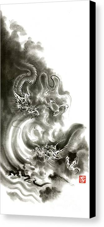 Mariusz Szmerdt Canvas Print featuring the painting Two Dragons Gold Fantasy Dragon Design Sumi-e Ink Painting Dragon Art by Mariusz Szmerdt