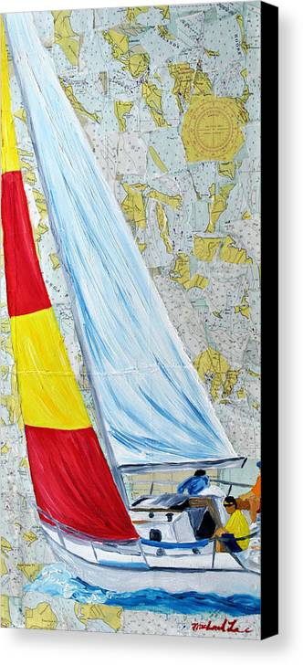 Sailing Canvas Print featuring the painting Sailing From The Charts by Michael Lee