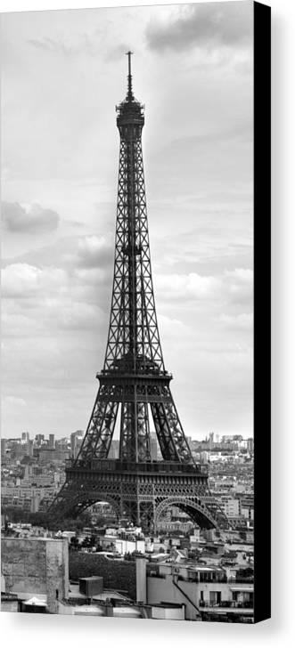 Panoramic Canvas Print featuring the photograph Eiffel Tower Black And White by Melanie Viola