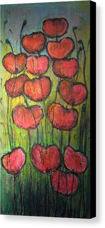 Poppies Canvas Print featuring the painting Poppies In Oil by Laurie Maves ART