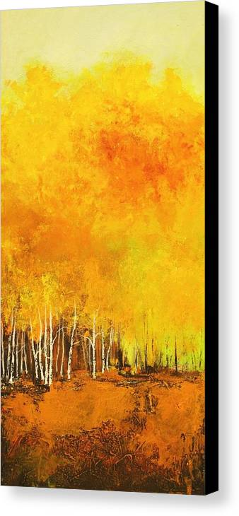 Contemporary Art Canvas Print featuring the painting Serenity In Forest by Anahid Minatsaghanian