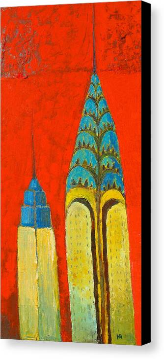 Canvas Print featuring the painting The Chrysler And The Empire State by Habib Ayat
