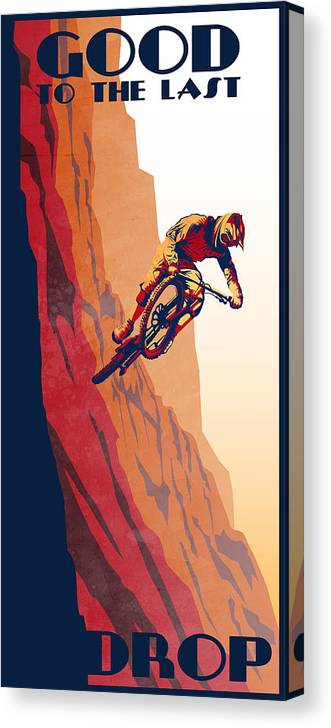 Retro Mountain Bike Canvas Print featuring the painting Retro Cycling Fine Art Poster Good To The Last Drop by Sassan Filsoof