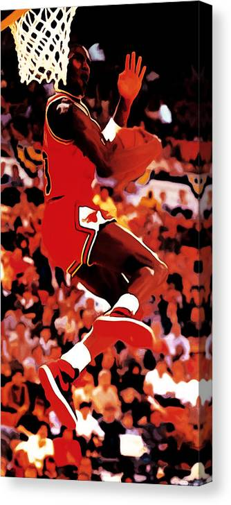 Michael Jordan Canvas Print featuring the digital art Air Jordan Cradle Dunk by Brian Reaves