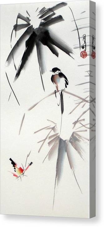 Bird Canvas Print featuring the painting Hearing Rain by Ming Yeung