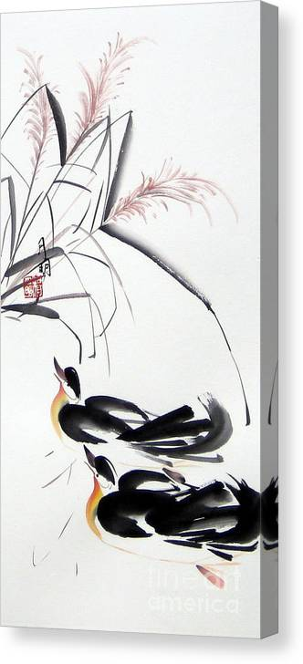 Chinese Painting Canvas Print featuring the painting Home Coming by Ming Yeung